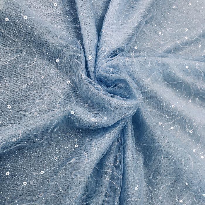 Tecido Tule Azul com Caminhos de Paetês