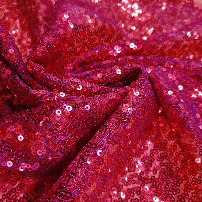Tecido Tule Bordado com Paetês Vermelho