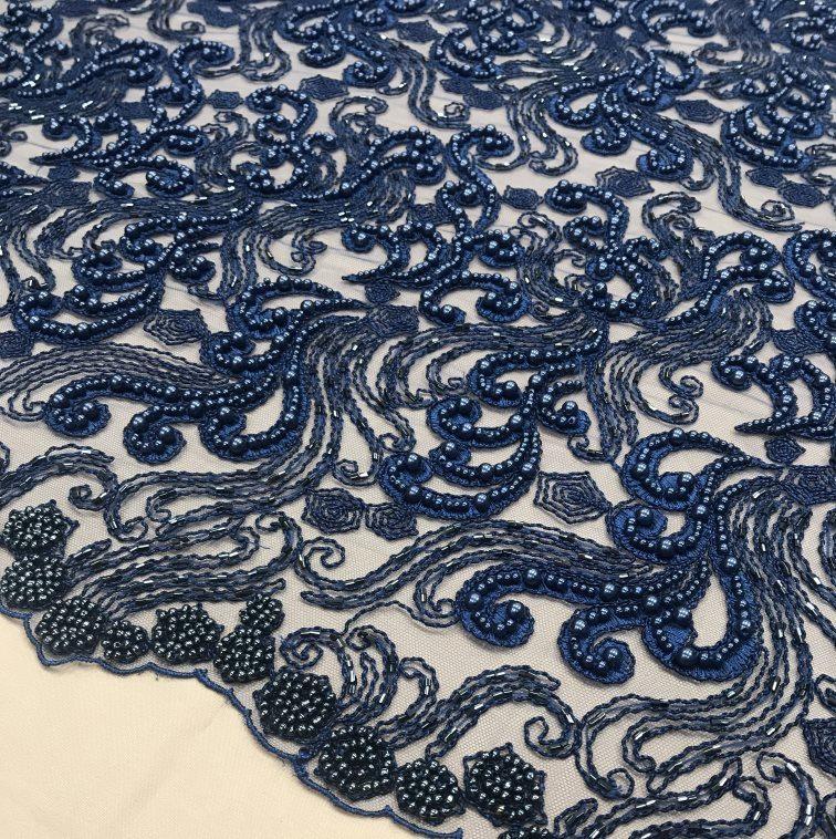Tecido Tule Bordado com Pedrarias Azul Marinho