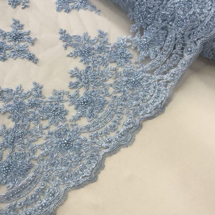Tecido Tule Bordado com Pedrarias Azul Serenity