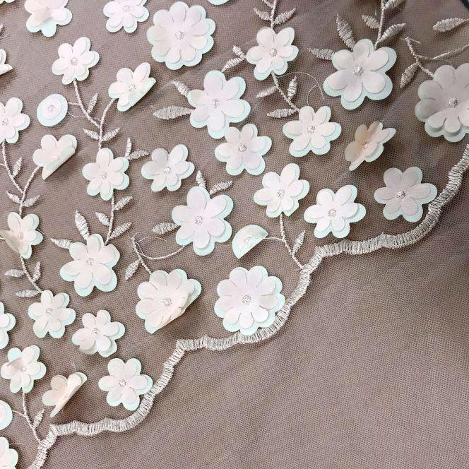 Tecido Tule Bordado Floral 3D Rosa Bebê - Fiorella