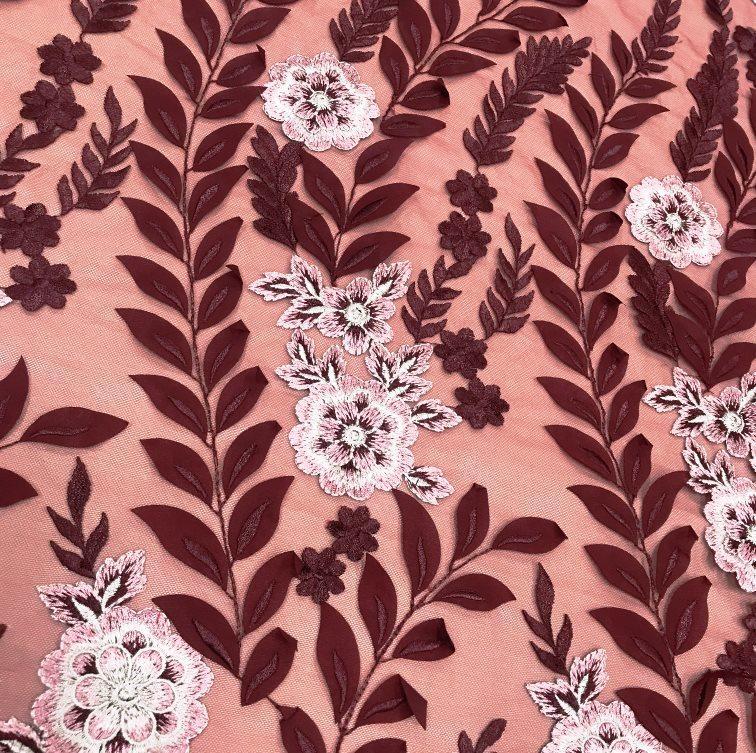 Tecido Tule Bordado Marsala Floral 3D