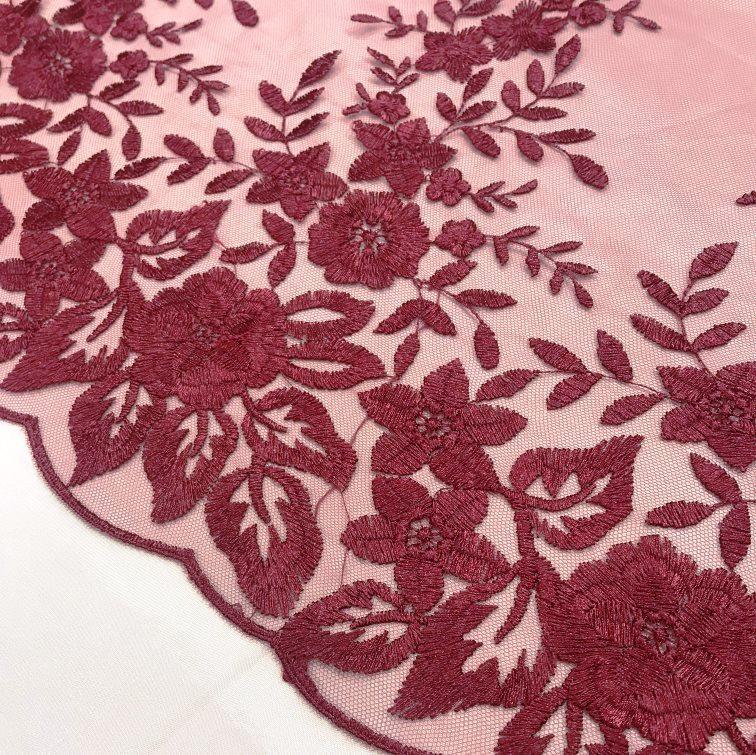 Tecido Tule Bordado Marsala Floral