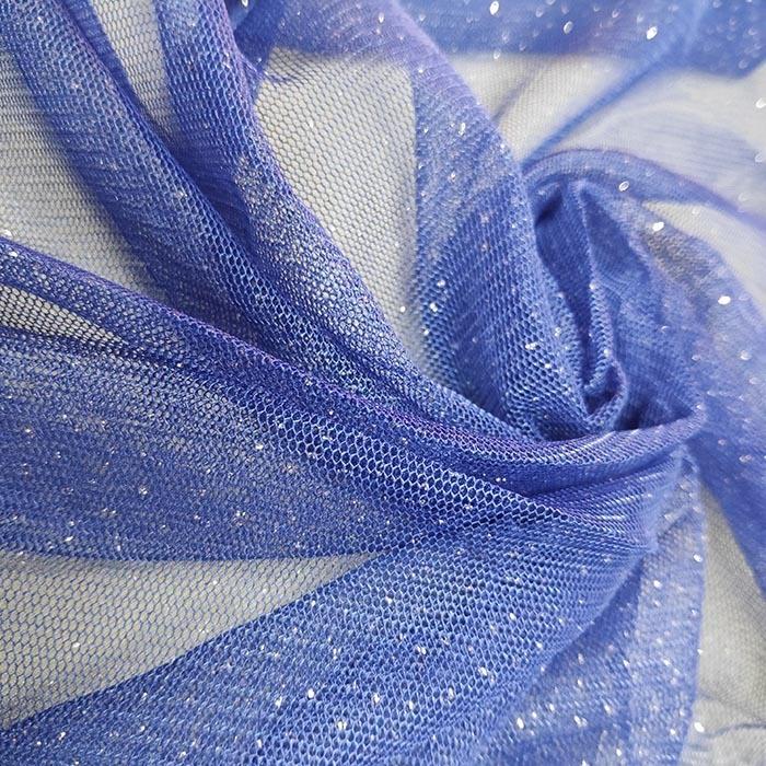 Tecido Tule Com Briho Azul Royal