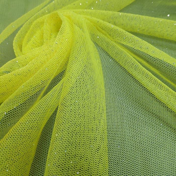 Tecido Tule Com Brilho Amarelo