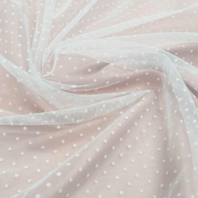 Tecido Tule de Poá Flocado Branco