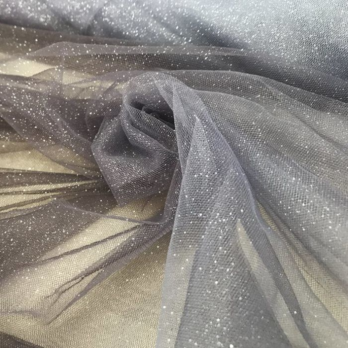 Tecido Tule Degradê Grafite e Prata com Glitter