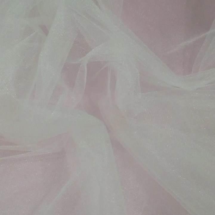 Tecido Tule Francês com Brilho Off White - 2,50m de largura