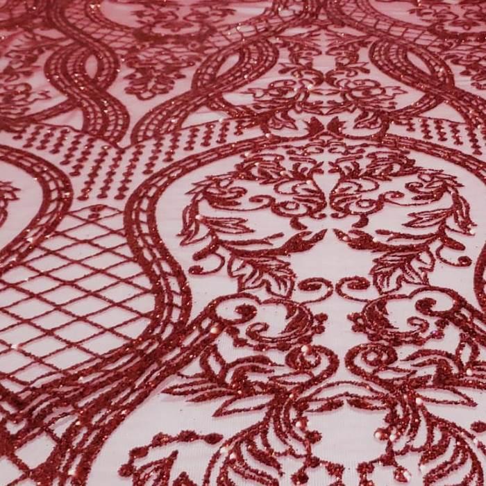 Tecido Tule Glitter Arabesco Vermelho Cereja