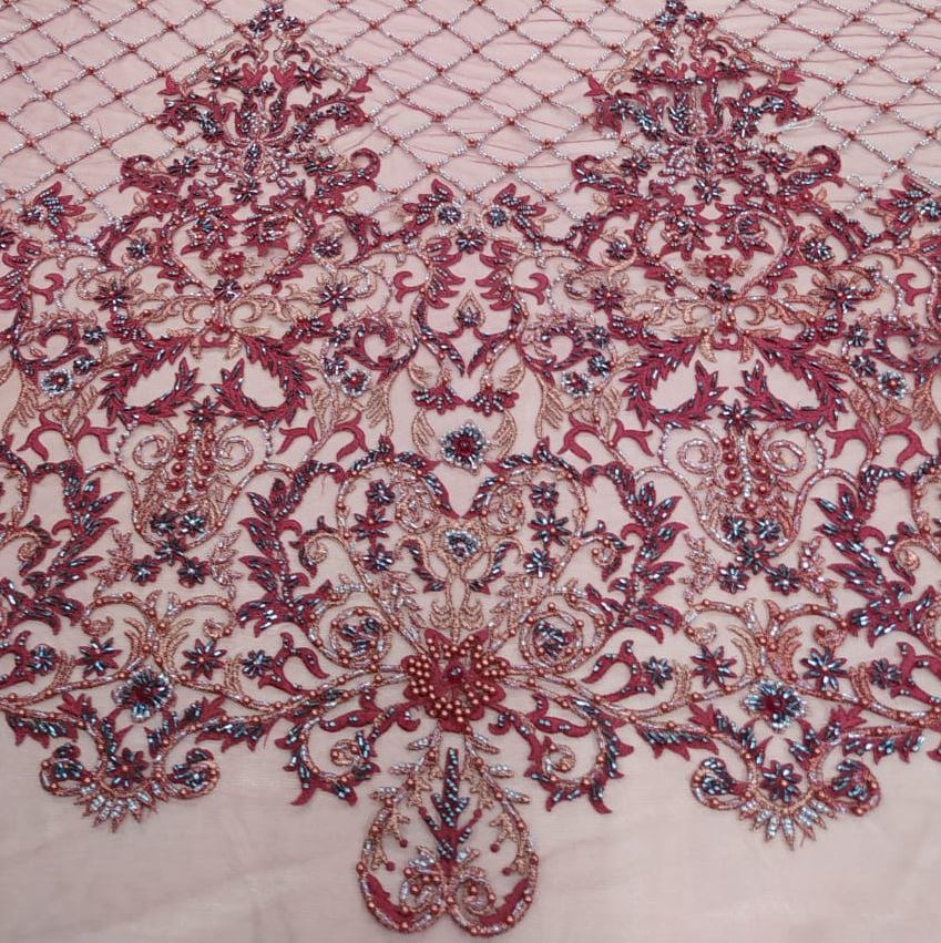 Tecido Tule Indiano bordado com Vidrilhos Furta-Cor