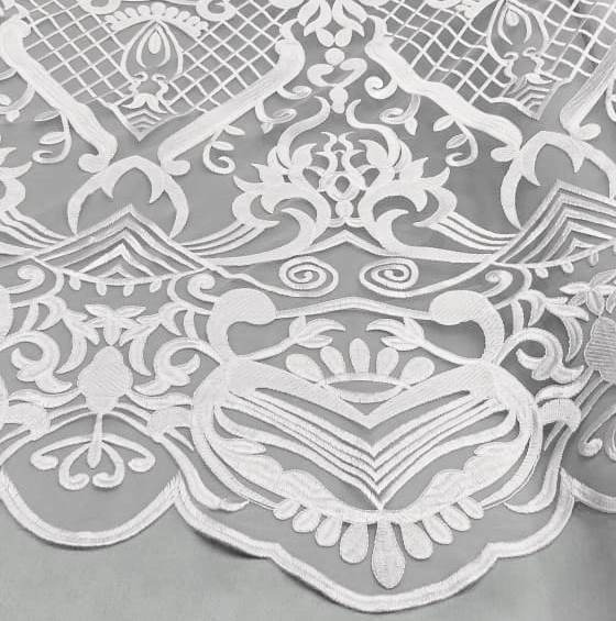 Tecido Tule Bordado Arabesco Branco (Bico)