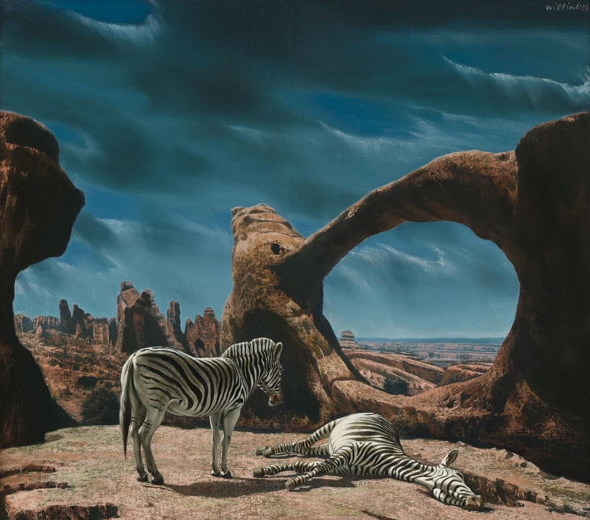 Carel Willink, Zebra's in rood rotslandschap, 1958, collectie Museum MORE-Kasteel Ruurlo ©Sylvia Willink-Pictoright
