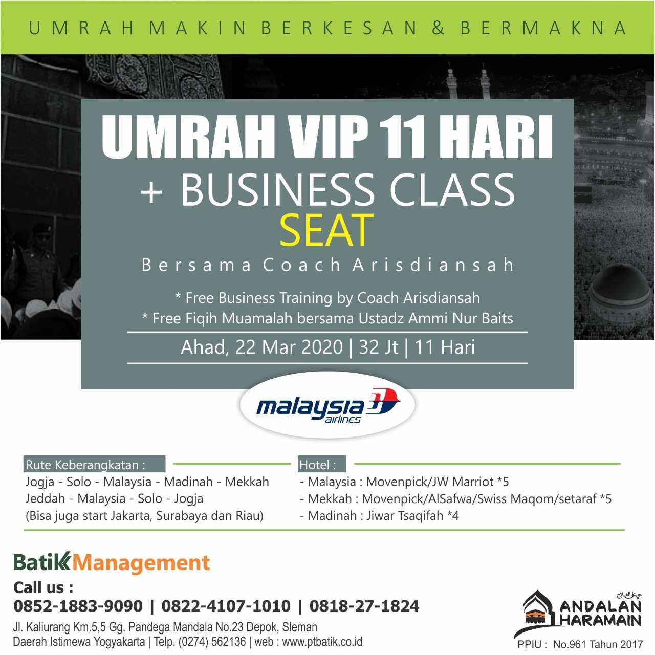 [SPESIAL] Umroh VIP 11 Hari PLUS BUSINESS CLASS SEAT - 22 MARET