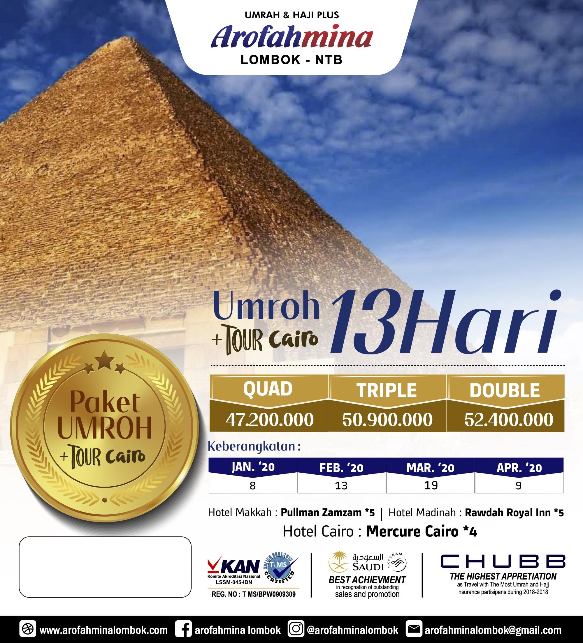PAKET UMROH PLUS TOUR CAIRO 13 HARI 13 FEBRUARY 2020