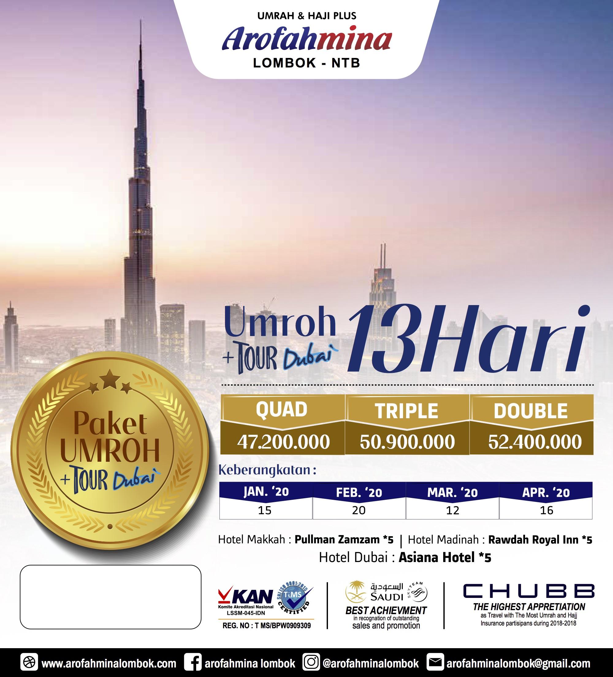 Umroh + Tour Dubai 13 Hari 20 Maret2020