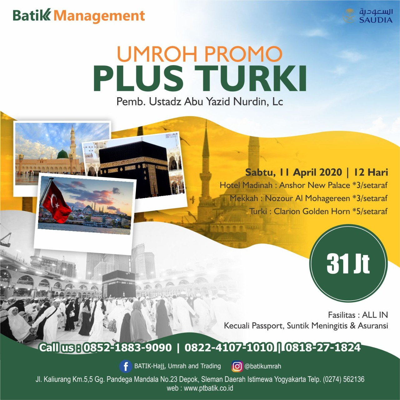 [PROMO] Umroh Promo 12 Hari PLUS Turki - 11 April 2020