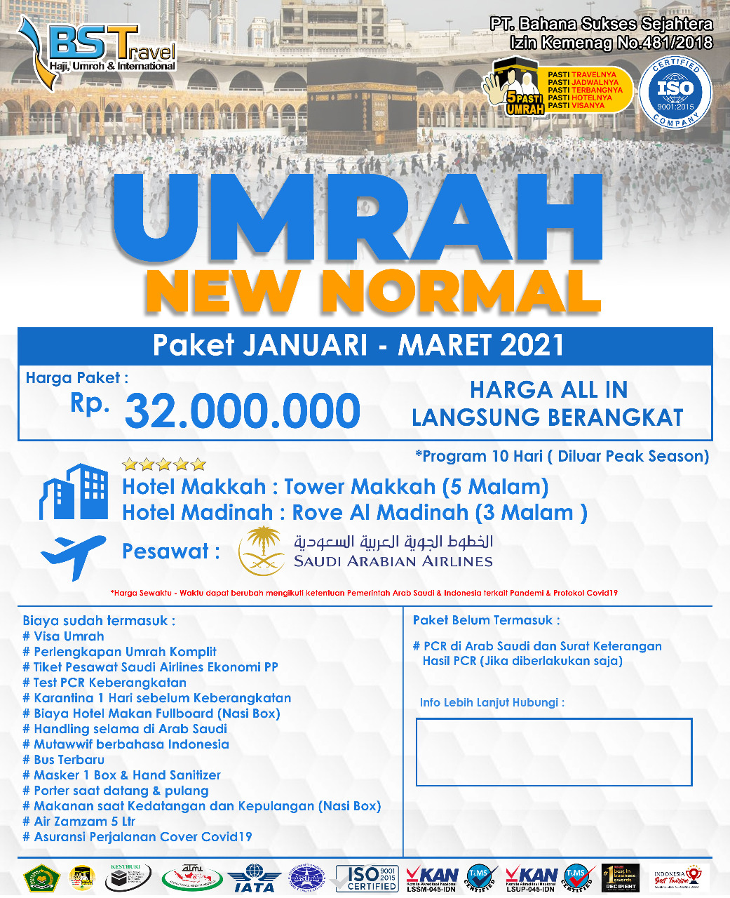 Paket Umroh New Normal Januari - Maret 2021