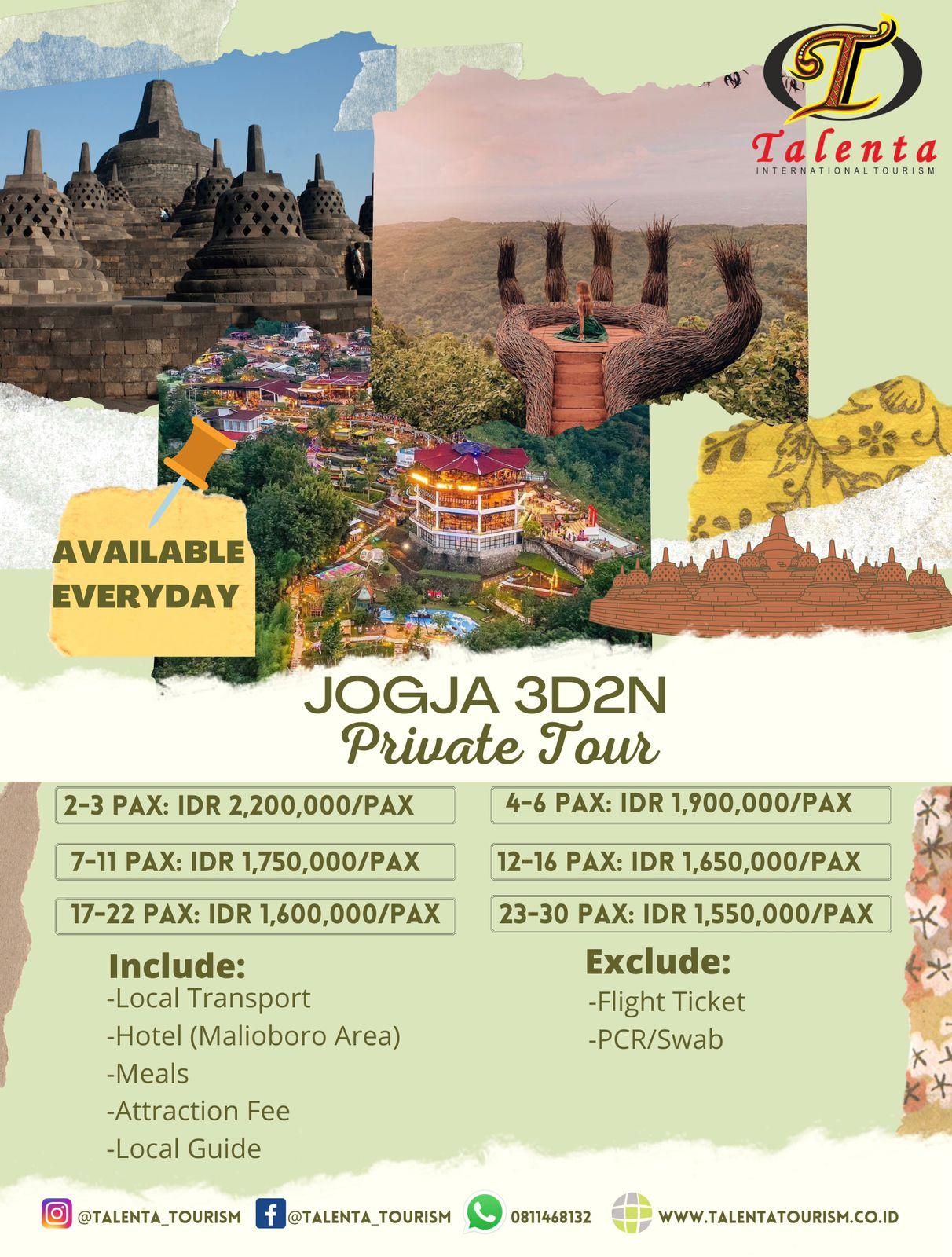 Jogya Private Tour 3 Hari / 2 Malam