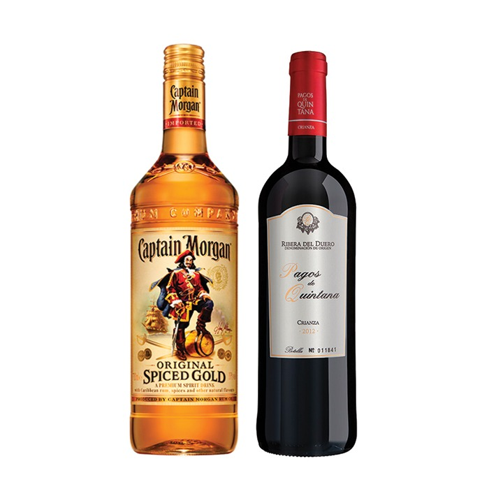 COMBO CAPTAIN MORGAN + PAGOS DE QUINTANA CRIANZA 750 ML