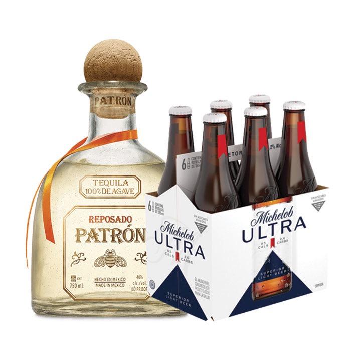 PATRON REPOSADO 750 ML + 6 MICHELOB ULTRA 355 ML