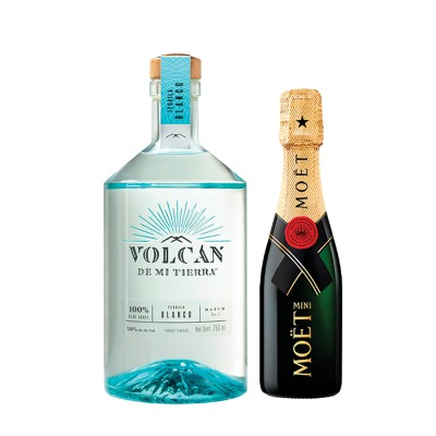 COMBO TEQUILA VOLCAN CRISTALINO 750 ML + MOET CHANDON 200 ML