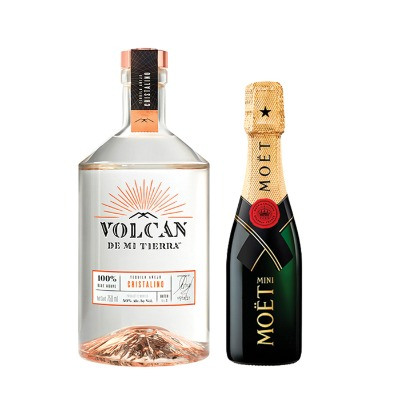 COMBO TEQUILA VOLCAN CRISTALINO 750ML + MOET CHANDON 200ML