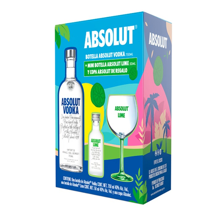 VAP ABSOLUT AZUL 750 + LIME 50 ML + COPA
