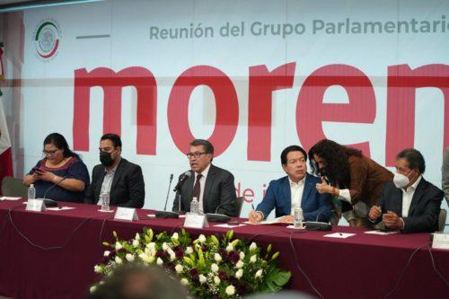 senadores de Morena reunidos/Twitter: @Mario_delgado