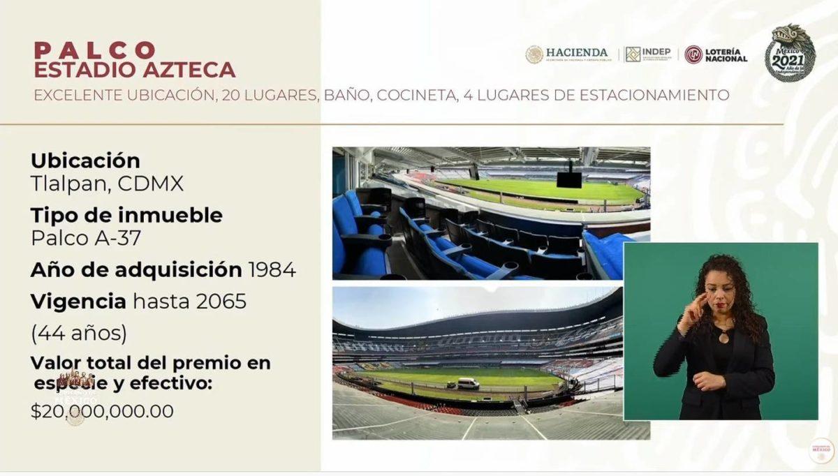 Palco Estadio Azteca sorteo 15 de septiembre