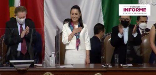 Claudia Sheinbaum al concluir su tercer informe de gobierno