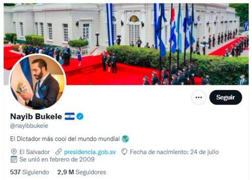 Cuenta de Twitter de Nayib Bukele