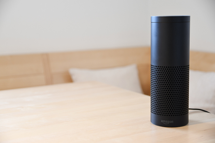 Amazon Echo with Alexa on a table