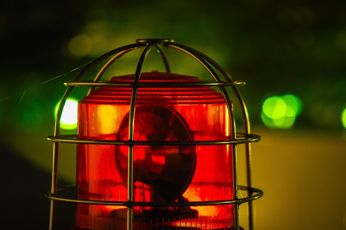 Red warning light at night