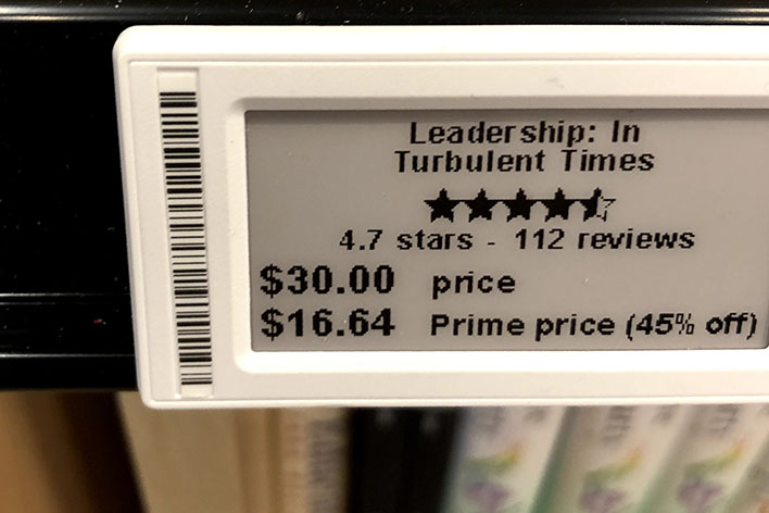 Shelf tag showing price & Amazon Prime discount