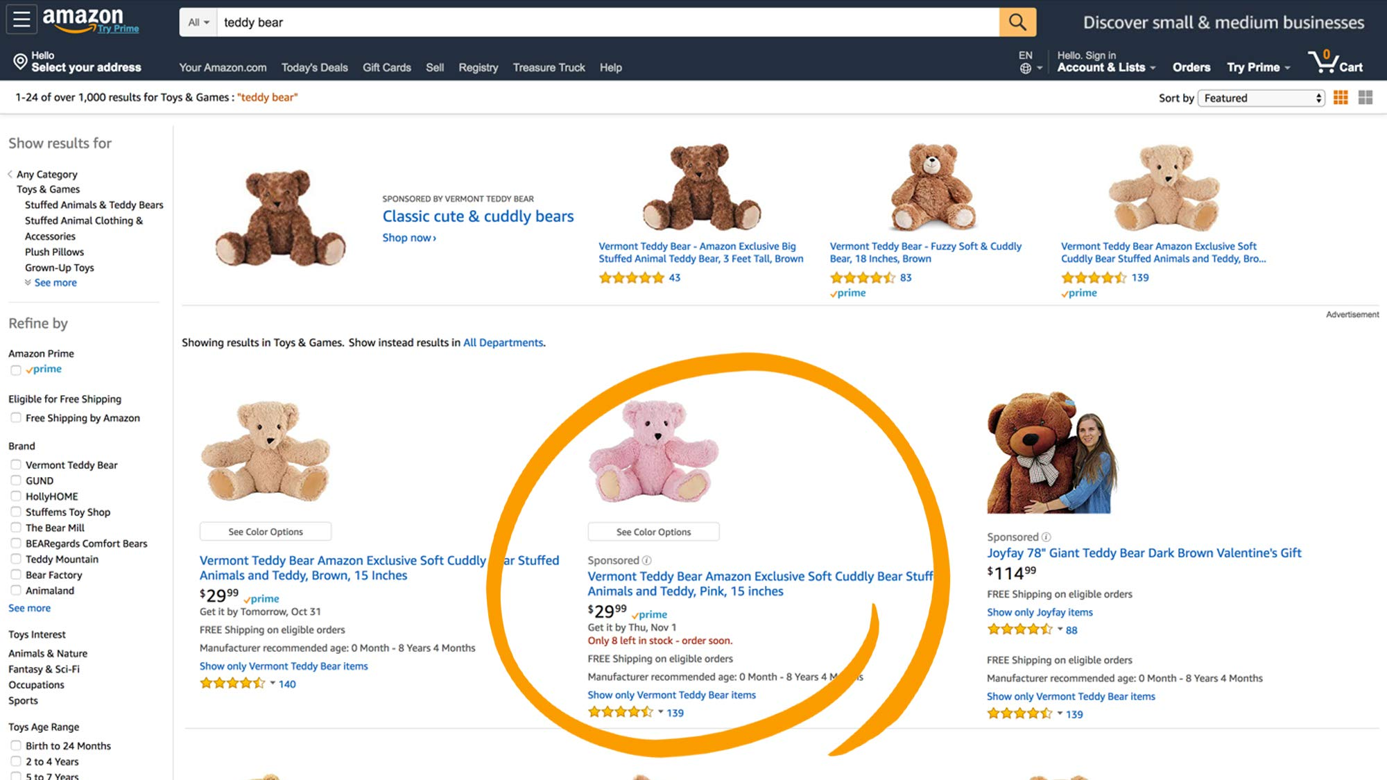 Examples of sponsored products campaign ads on Amazon