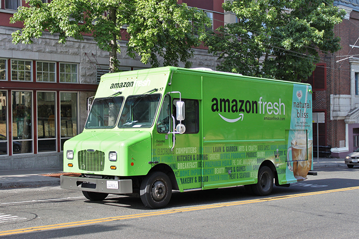 Green & light blue Amazon Fresh delivery truck