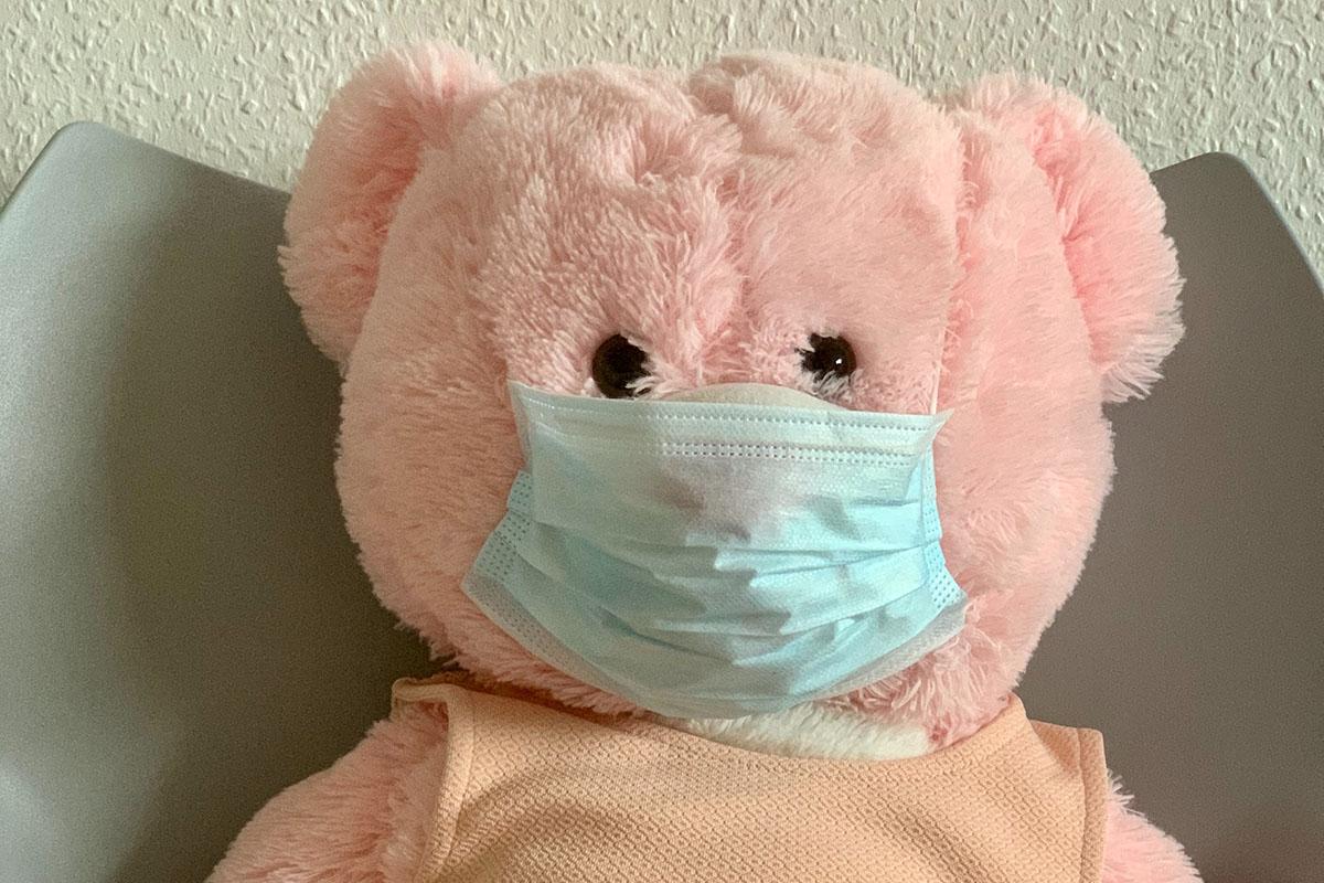 Pink stuffed bear wearing blue face mask