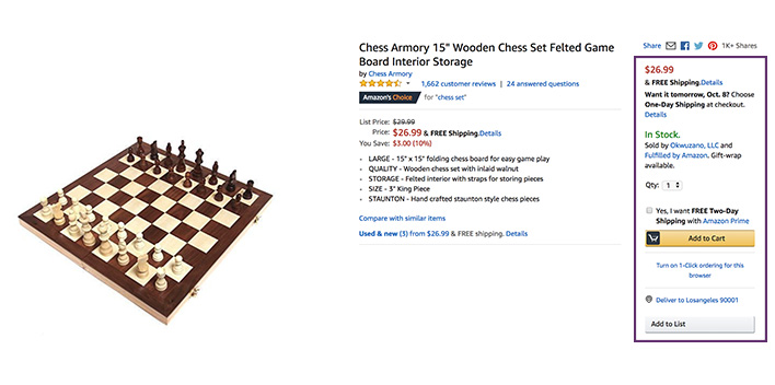 Amazon listing for a chess set