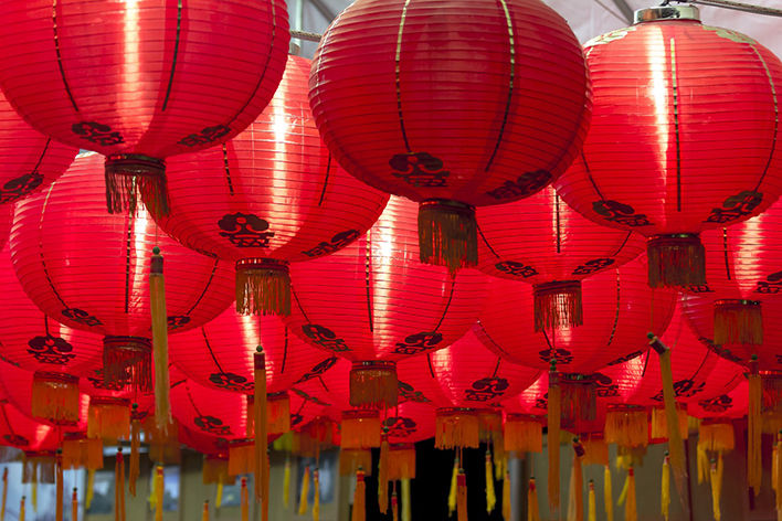 Numerous red Chinese New Year lanterns for good luck