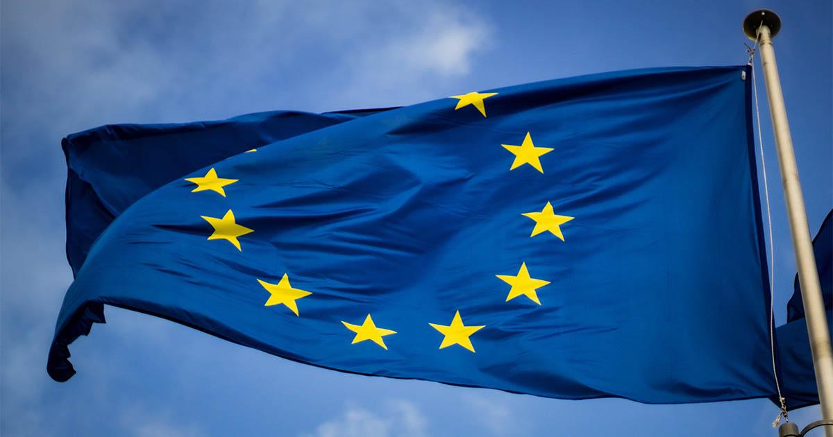 European Union flag flying on mast