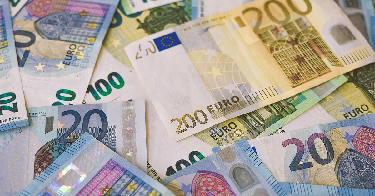 Assortment of euros on a table
