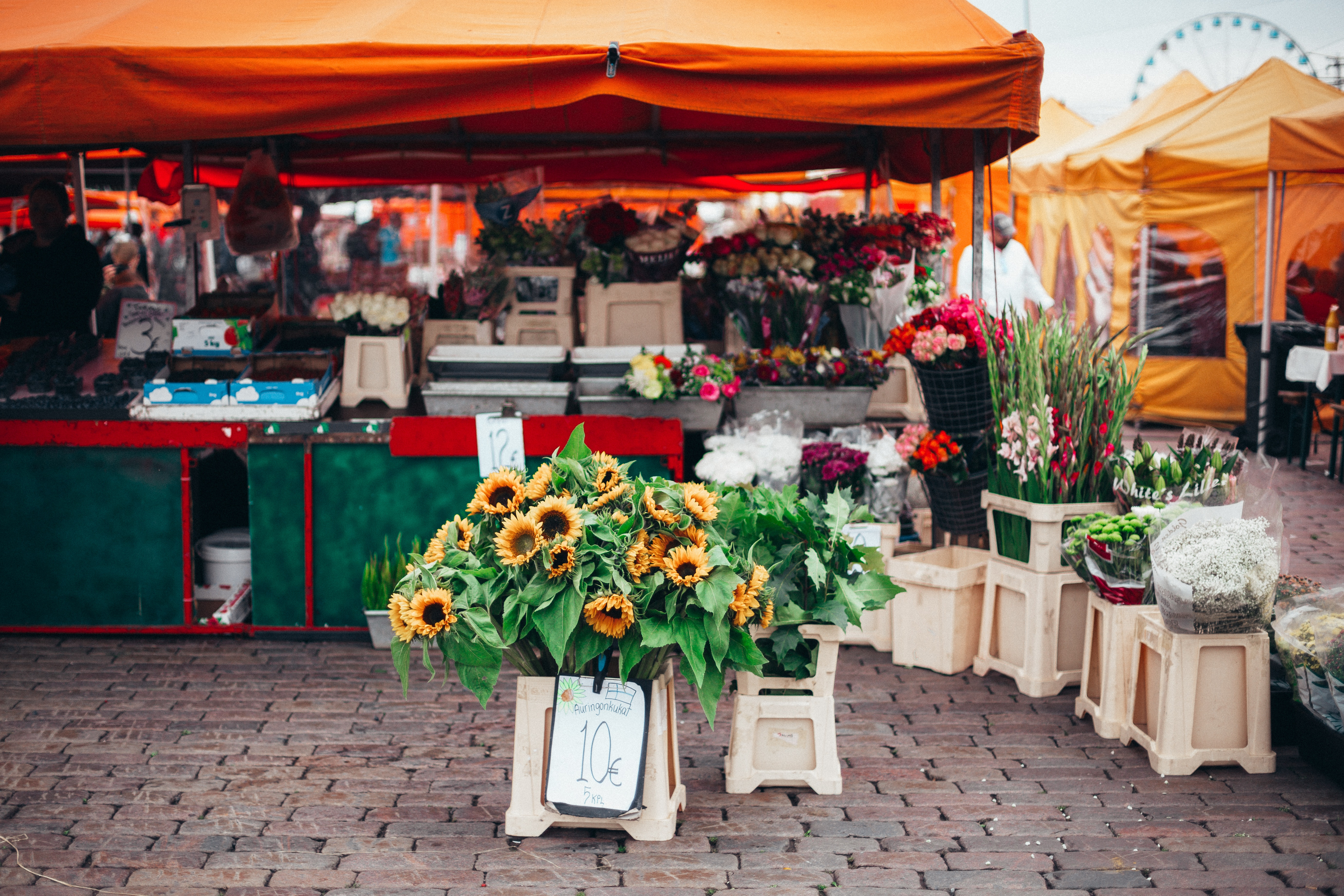 Flowers for sale at outdoor market
