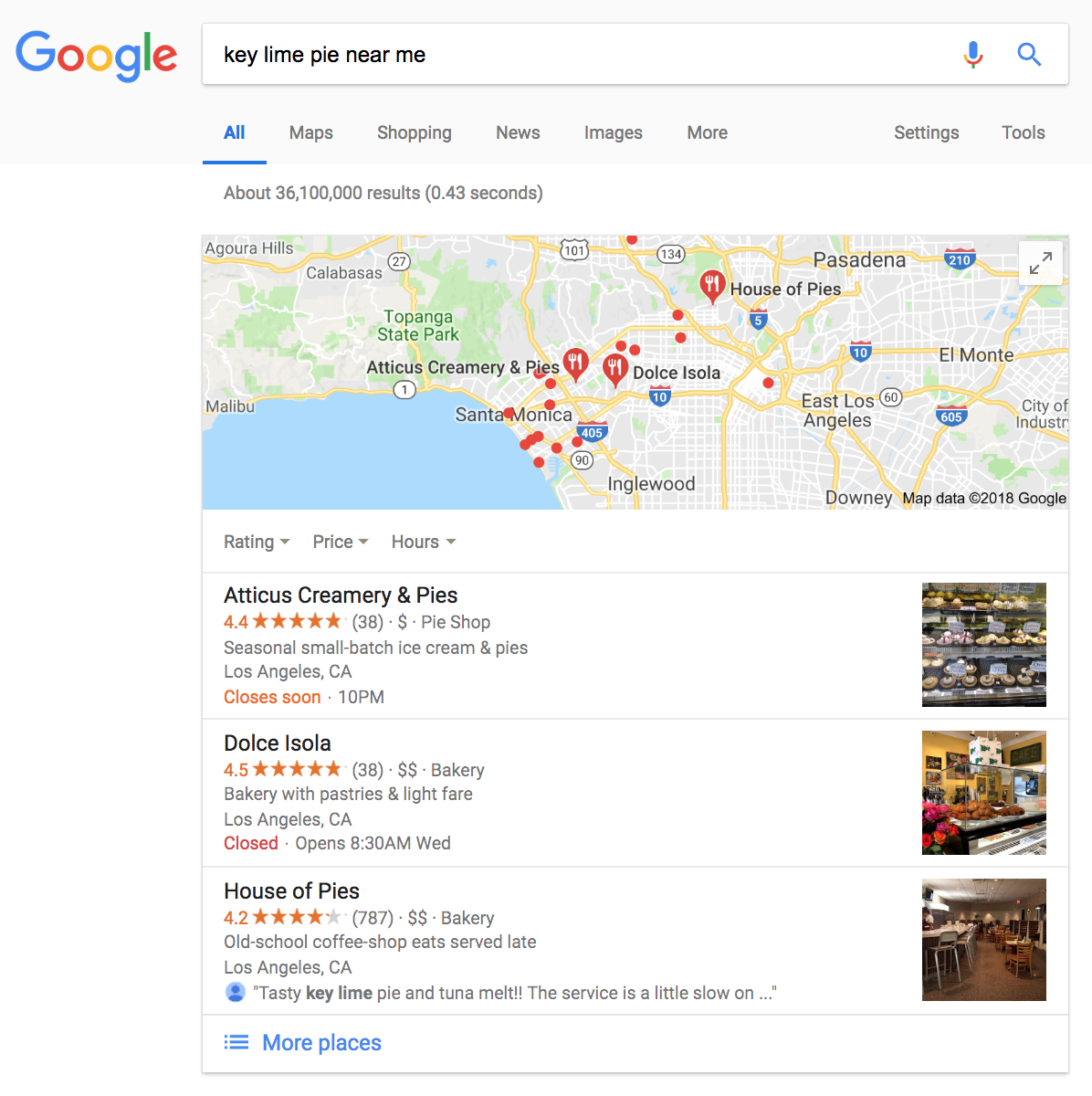 "Google search listing ""near me"" results map"