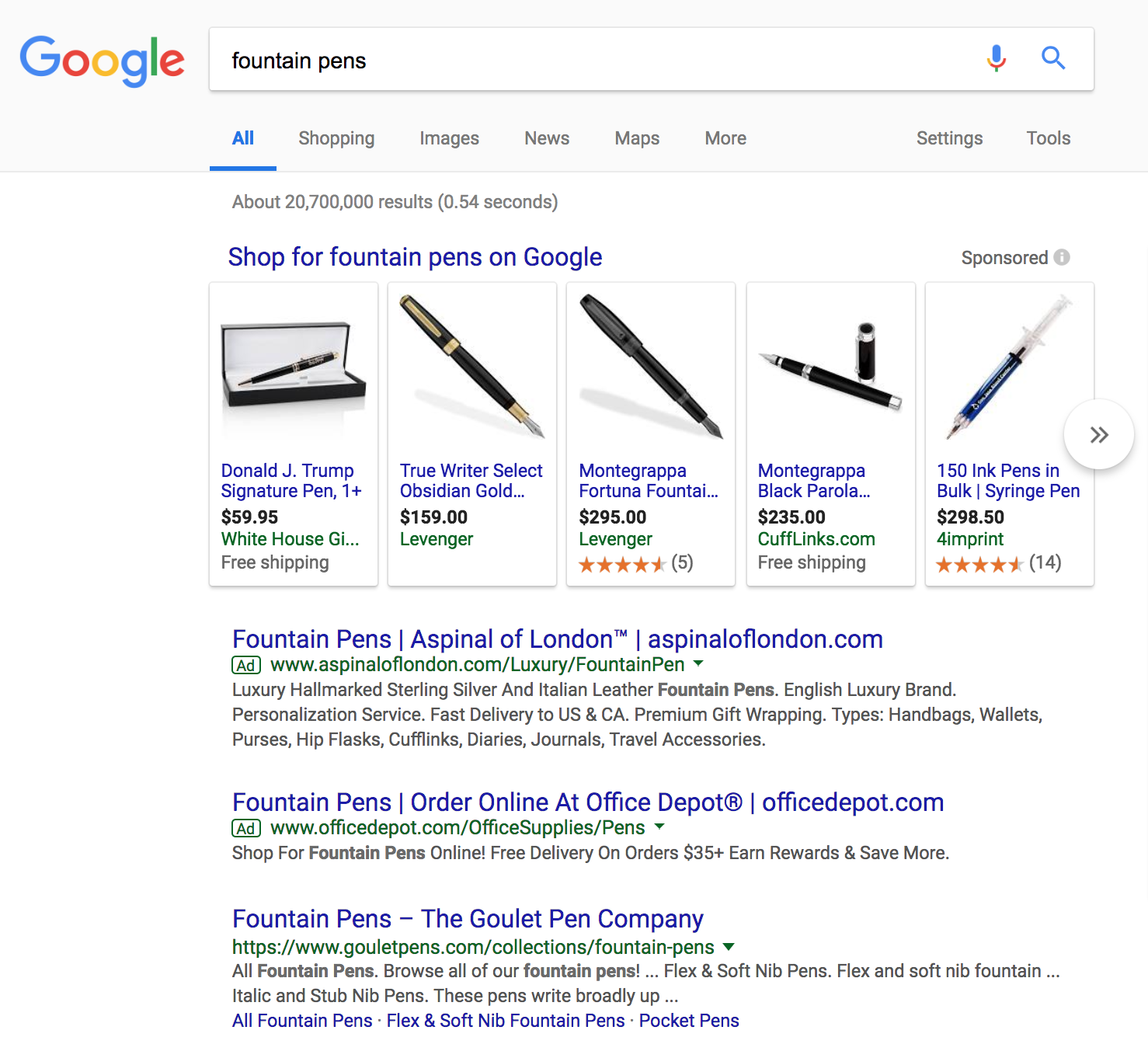 Google results page from product search