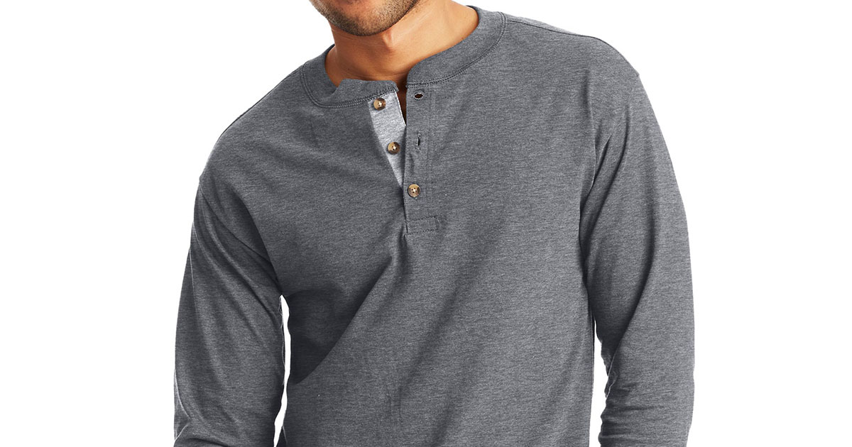 Long sleeve gray henley style t-shirt