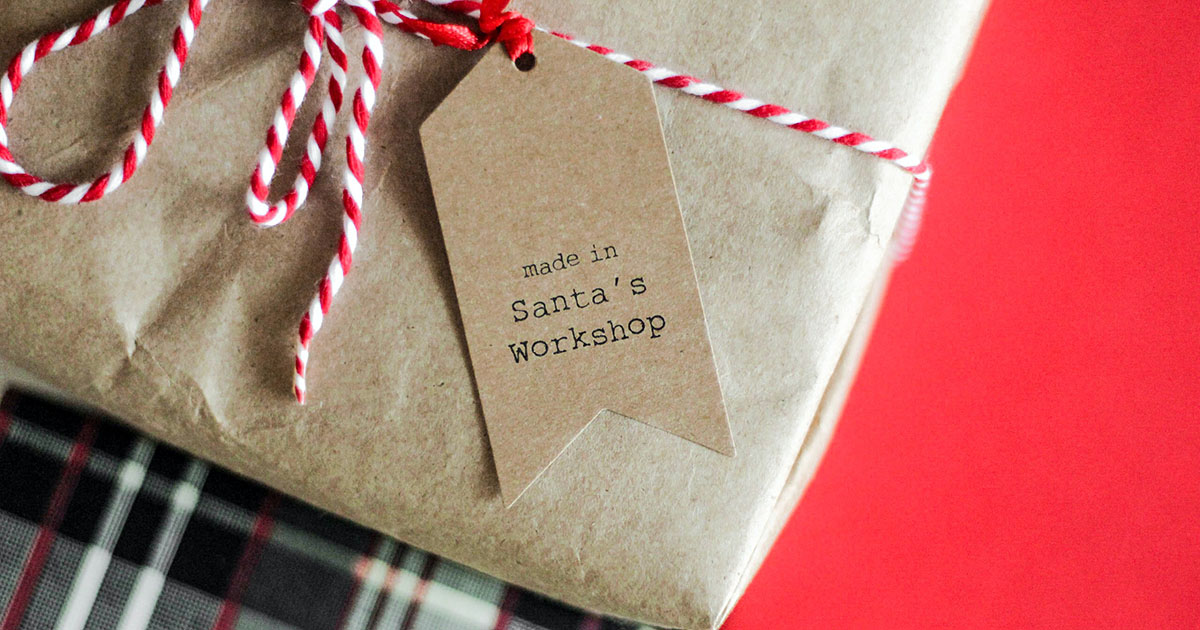 Wrapped holiday gift with tag