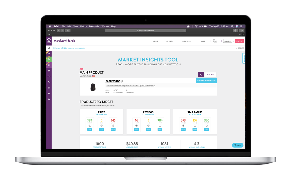 MerchantWords' Product Targeting Tool helps you build a winning Amazon Advertising strategy by showing you the exact competitors to advertise on to get more sales