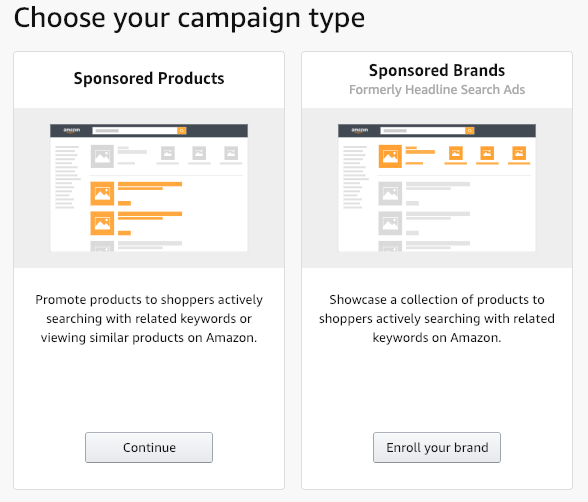 Amazon advertising campaign options side-by-side: sponsored brands or sponsored products