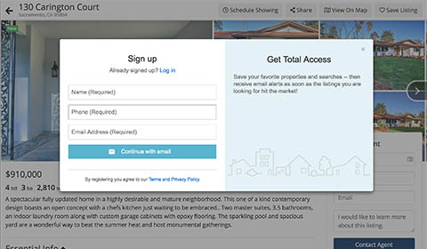 iHOUSEweb Registration Pop-up Window