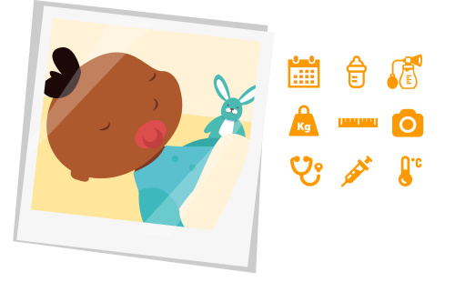 MyNannyBook main features icons: calendar, pumping, weight, height, pics, paediatrician, vaccines, temperature
